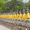 Aufgereihte Buddhastatuen in Thailand