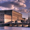 Der Stockholmer Palast während der Abenddämmerung
